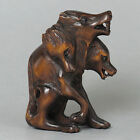 "1940's Japanese Master Boxwood Netsuke""Three Head Wolf""Figurine Carving"