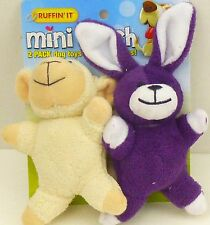 Ruffin It Mini Plush 2 Pack Dog Toy With Squeakers Bear + Rabbit Sm Breeds/Pups