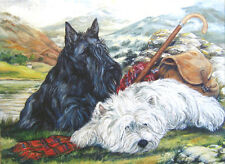 WEST HIGHLAND WHITE & SCOTTISH TERRIER DOG LIMITED EDITION PRINT Scottie Westie