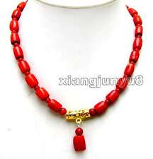 SALE Red 10-11mm Natural Thick Slice & 5mm coral pendant 17'' Necklace-nec5929