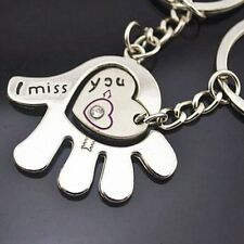 "2pcs Couple Key Chain Ring Set ""I Miss You"" Hand & Heart Rhinestone His Hers"
