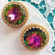 MINTY Vintage ELSA SCHIAPARELLI Watermelon Tourmaline EARRINGS Signed & Patent!