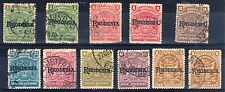 Rhodesia 1909-12 vals to 1s + shades FU CDS