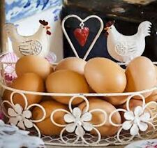 Rustic wire decorative hen Egg storage heart basket cream kitchen
