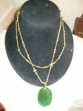 Gold tone with Green Beads Pendant two strand necklace 20 inch