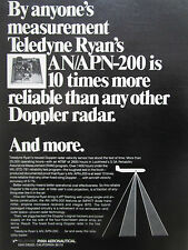 6/1974 PUB TELEDYNE RYAN AERONAUTICAL DOPPLER RADAR AN/APN-200 ORIGINAL AD