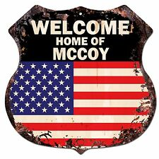BP0502 WELCOME HOME OF MCCOY Family Name Shield Chic Sign Home Decor Gift