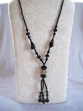 Vintage Deco Style Black Glass Bead Rhinestone Rondell Accent Tassel Necklace