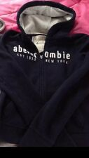 Abercrombie Hoodie Winter Heavy Double Lined Size Kids XL or Ladies XS Navy Blue