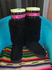 NWOB~$149~Black Angora Fur Neon Trim Crystals Studs Hippie Boots~10~Gypsy Soule