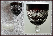 RUBY RED Wine Glass Goblet Hock CUT TO CLEAR CRYSTAL AnnaHuette GERMANY