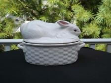 Bordallo Pinheiro White Rabbit Covered Casserole Vegetable Dish Basketweave