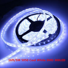 16ft/5M 5050 Cool White SMD 300LED Flexible Light Strip Lamp 12V Waterproof IP65