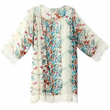 Women Summer Blouse Printed Chiffon Shawl Kimono Casual Cardigan Cover Up Tops