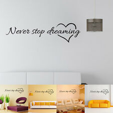 Never Stop Dreaming English Quote Wall Stickers Decal DIY Creative Home Decor