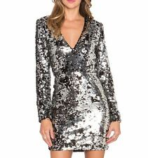 $445 Rachel Zoe Muse Sequin V-Neck Silver Black Cocktail Party Dress Size 8