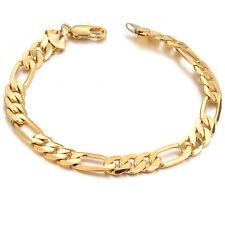 "Mens Gold Plated 7mm Figaro Men's Link Bracelet, 8.5"" Ships from US"