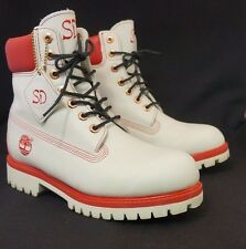 "Timberland White with Red Trim 6"" Boots Mens 6.5 Waterproof"