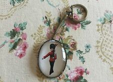 VTG REVERSED HAND PAINTED BRITISH GUARD BRASS KEYCHAIN