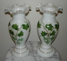 "Consolidated 10"" enamel floral Ivy pattern Con Cora vases"