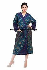 Indian Mandala Night Lingerie Cover Up Sleepwear Cotton Bath Robe Dressing Gown