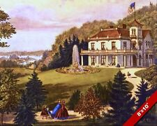 EARLY AMERICANA COUNTRY HOME FOLK ART LANDSCAPE PAINTING ART REAL CANVAS PRINT