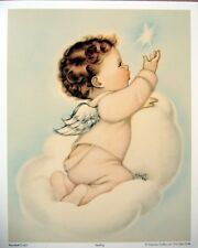 art print~STARLING~Charlot Byj Baby Boy Angel on cloud star vtg repro 12x15