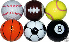 Sports Golf Balls by Longridge: Box of 6 Assorted Colours & Designs