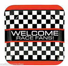 racing car party  ~PK 8 SQUARE  DINNER PLATES. RED/BLACK/WHITE
