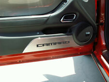 ACC Camaro Stainless Steel & White Carbon Fiber Door Kick Plates (2010-2015)