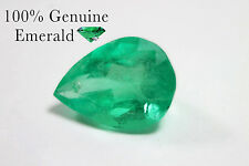 Rare 3.18cts Bright Summer Green Loose Natural Colombian Emerald Pear Shape