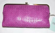 $128 HOBO INTERNATIONAL LAUREN PERFORATED LEATHER DOUBLE FRAME WALLET CLUTCH