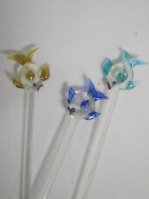 Handmade Glass Swizzle Sticks 3 Stir Stick Fish Ocean Aquariam Sea Drink Ornamet