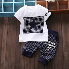 Newborn Baby Boys Summer Cotton Outfit Tops Shirt + Trousers Clothes Set 0-24M