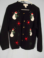 WOMENS UGLY CHRISTMAS SWEATER MEDIUM CARDIGAN BLACK SNOWMEN
