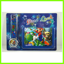Super Mario Brothers Luigi Kids Boys Wrist Watch and Purse Wallet SET FREE SHIP