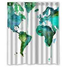 Custom Vintage World Map WaterProof Polyester Fabric Shower Curtain 60x72 Inch