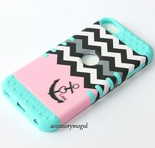 iPod Touch 5th 6th Gen - HARD & SOFT RUBBER HYBRID CASE PINK BLUE CHEVRON ANCHOR