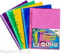 New Tiger A4 Coloured Plastic/Punch Pockets/Sleeve/Wallets/Binder Pack Of 50