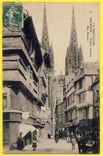 cpa 29 - QUIMPER (Finistère) Rue KERÉON Cathédrale MERCERIE Marchand ambulant