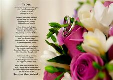 A4 PERSONALISED TO OUR DAUGHTER ON HER WEDDING DAY POEM IDEAL FOR FRAMING