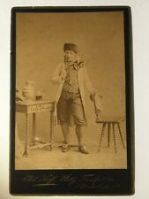 Large Victorian Cabinet Card Photo - Unusual Gent Pipe Hat - Frankfurt Germany