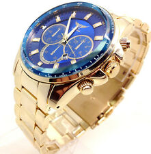 240X Men Armany Style Luxury Wrist Watch Gold Band Chunky Blue Dial 2yrs Waranty