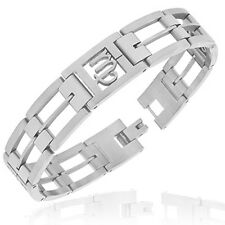 Stainless Steel Silver-Tone Link Chain Zodiac Sign Virgo Mens Bracelet