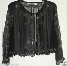 BNWOT Kate Moss Topshop Black Beaded Floral Bolero Size 10