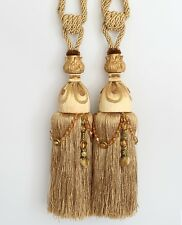 "HEAVY LARGE 13"" Luxury Tassel Curtain Tieback Holdback Window Decor Beaded. GOLD"