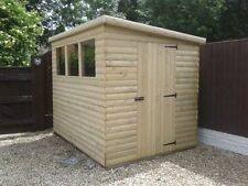 12x8  19mm T&G loglap pent roof garden shed  (pressure treated)