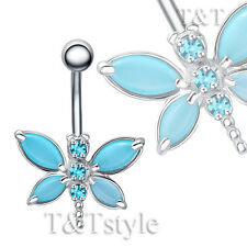 TTstyle TT Blue Cat's-eye Dragonfly Belly Button Ring