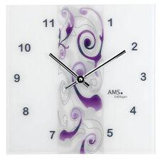 AMS Quarz Wand Uhr Design violett Mattiertes Glas Neu
