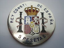 BEAUTIFUL ALFONSO XIII 1889 5 PESETAS 10 COLOUR HAND PAINTED & ENAMELLED COIN